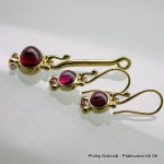 Gold tourmaline pendant and earrings